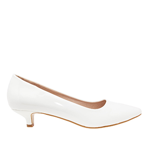 White Patent Leather Pumps with pointed toe