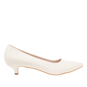 Beige faux Soft-Leather Pumps with pointed toe