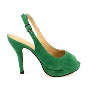 Sandalias de Ante Verde y tacón fino.