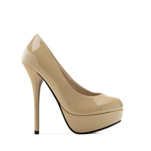 Light Brown Patent Platform Pumps with Stiletto Heel