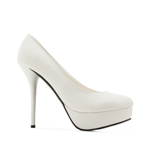 White faux Leather Platform Pumps with Stiletto Heel