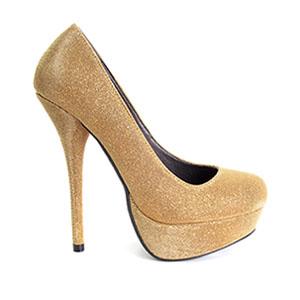 Zapatos en Tejido Brillo Oro con Plataforma.