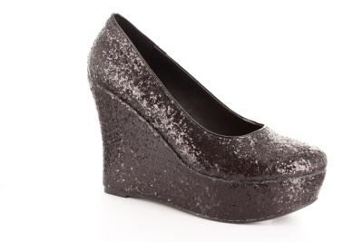 Black Glitter Wedges