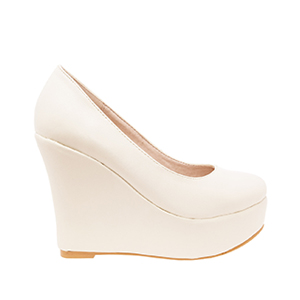 Beige faux Soft-Leather Wedge Pumps