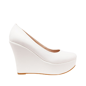 White faux Soft-Leather Wedge Pumps