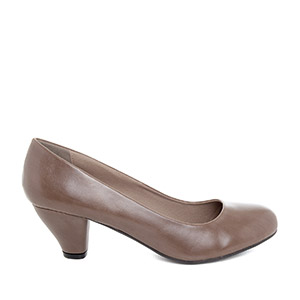 Classic Taupe faux Soft-Leather Pumps