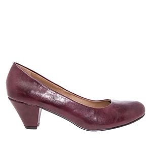 Classic Burgundy faux Soft-Leather Pumps