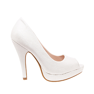 White engraved Peep Toe Platform Pumps