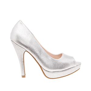 Silver engraved Peep Toe Platform Pumps