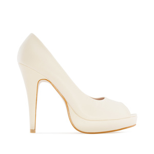 Beige faux Leather Peep Toe Platform Shoes