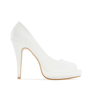 White faux Leather Peep Toe Platform Shoes