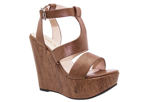 Stylish Brown faux Leather Roman Wedges