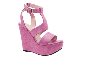 Stylish Pink faux Leather Roman Wedges