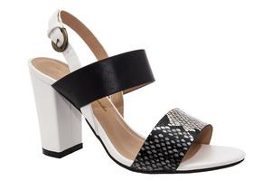 Otvorene sandale sa širokom petom, crno - bele