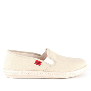 Mythical Beige Canvas Slip-on Shoes with Rubber and Jute Sole