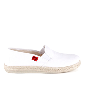 Mythical White Canvas Slip-On Shoes with Rubber and Jute Sole