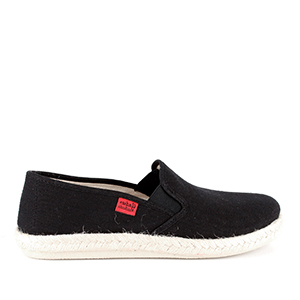 Mythical Black Canvas Slip-On Shoes with Rubber and Jute Sole