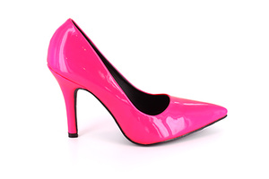 "Fucsia pink patent Stiletto pump with 3.7"" heel."