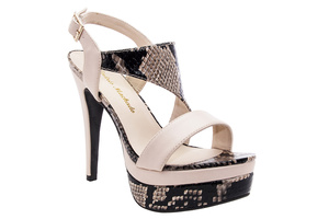 Beautifully designed Beige & Snake Print faux Leather Platforms