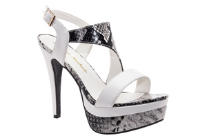 Beautifully designed White & Snake Print faux Leather Platforms
