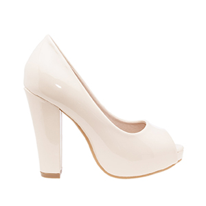Beige Patent Peep Toe Pumps