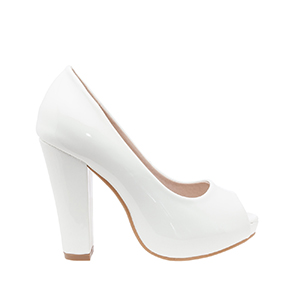 White Patent Peep Toe Pumps