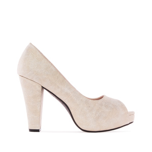 Peep toes en Soft Grabado color Perla.