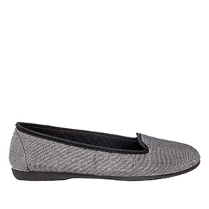 Very flexible Shiny Silver Fabric Slip-On Flat Shoes.