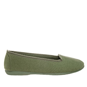 Very flexible Green Canvas Slip-On Flat Shoes