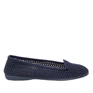 Very flexible Navy Blue Mesh Slip-On Flat Shoes.