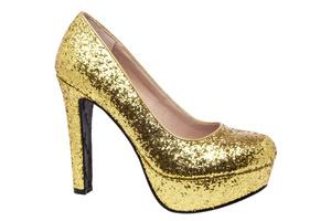 Salonowe Glitter Złote i Platforma