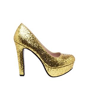 Salones Glitter Oro y Plataforma