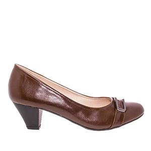 Brown faux Soft-Leather Pumps