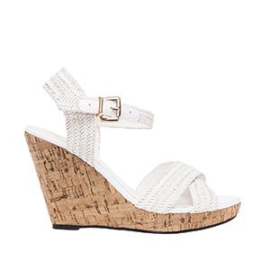 Sandale sa ukrštenim kaiševima sa plutanom platformom, bele