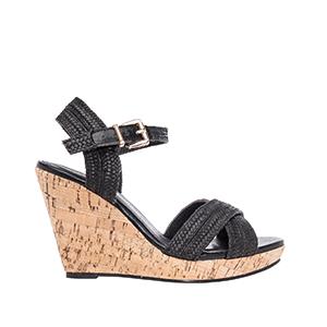 Sandale sa ukrštenim kaiševima sa plutanom platformom, crne