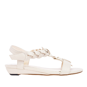 Sandale sa pletenim detaljima, soft prljavo bele