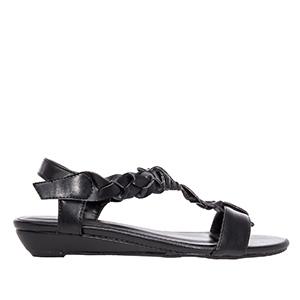 Sandale sa pletenim detaljima, soft crne