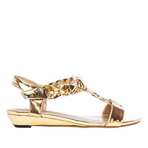 Sandale sa pletenim detaljima, soft zlatne
