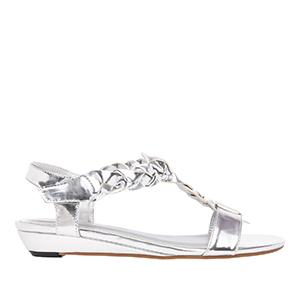 Sandale sa pletenim detaljima, soft srebrne