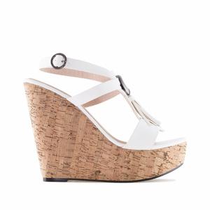 Chaussures compensées en Soft Blanc avec franges