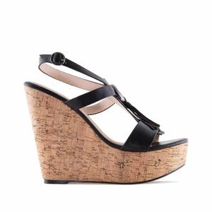 Chaussures compensées en Soft Noir avec franges