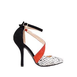 Dvobojne sandale u špic, zmijsko-crne