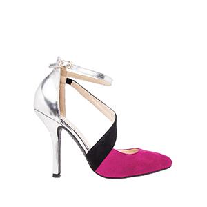 Dvobojne sandale u špic, srebrno-roze