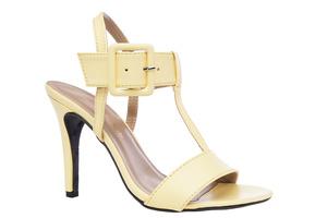 Páskové letní sandále na vysokém podpatku. Žluté.