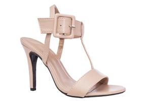 Beiget T-hihna sandaalit leveällä nilkkahihnalla ja sävytetyllä soljella