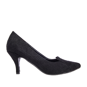 Black Snake Print Suede Slipper Cut Pumps