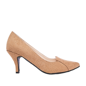 Camel Snake Print Suede Slipper Cut Pumps
