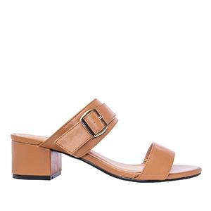 Papuče sa debljom petom, soft braon