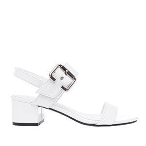 Papuče sa debljom petom, lakovane bele