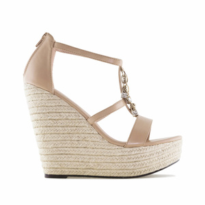 T-Bar-Keilsandalette in Soft-Beige mit dekorativen Glasperlen